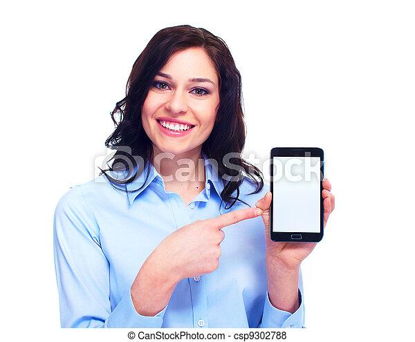telephone., mulher, jovem, negócio - csp9302788