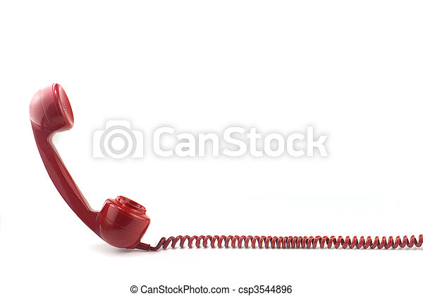 Telephone receiver and curly cord - csp3544896