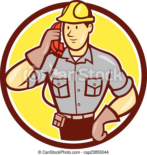 Telephone Repairman Phone Circle Cartoon - csp23855044