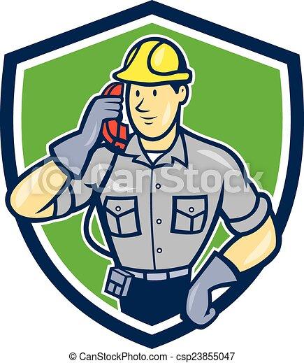 Telephone Repairman Phone Shield Cartoon - csp23855047