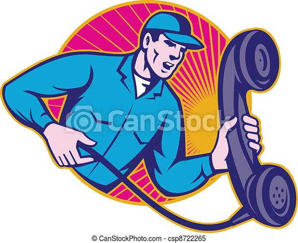 Telephone Repairman Worker Holding  - csp8722265