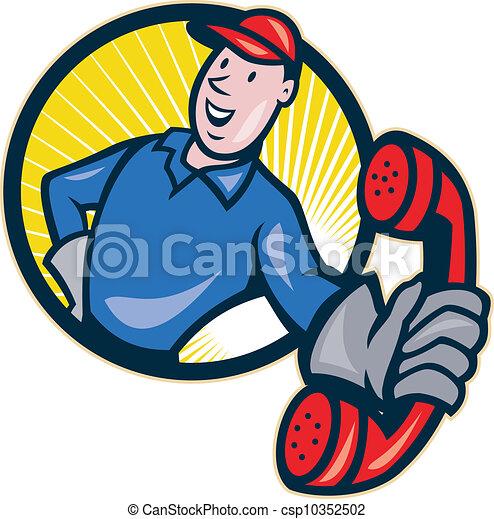 Telephone Repairman Worker Phone - csp10352502