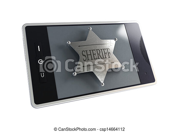 telephone the sheriff's badge - csp14664112