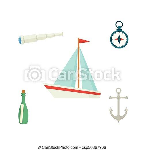 telescoop, scheeps , kompas, fles, tv nieuws , boodschap - csp50367966
