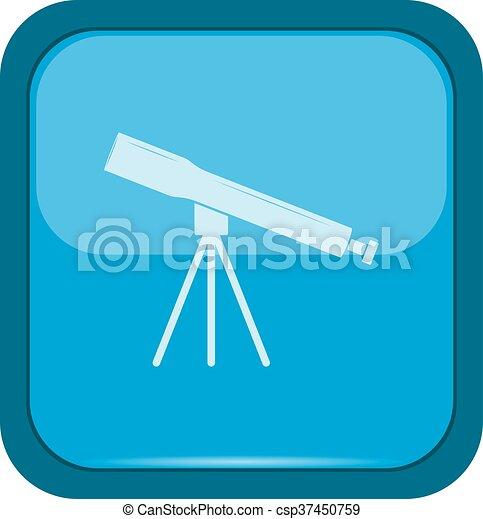 Telescope icon on a blue button - csp37450759