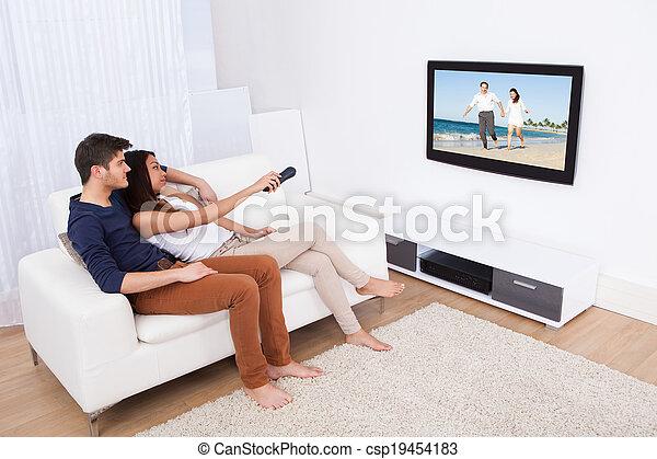televízió élénk, párosít, szoba, őrzés - csp19454183