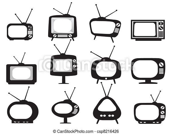 televízió díszlet, fekete, retro, ikonok - csp8216426