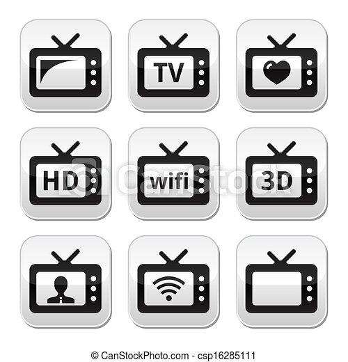 Televisión, 3D, botones vectores HD - csp16285111