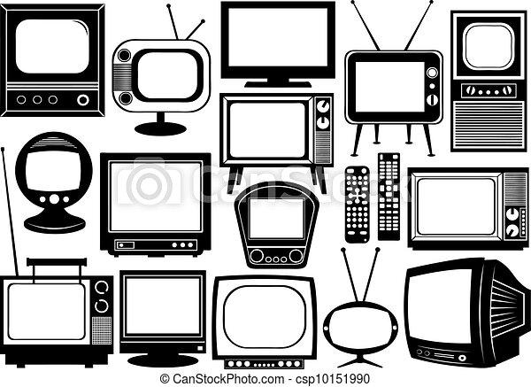 televisión, collage, conjunto - csp10151990