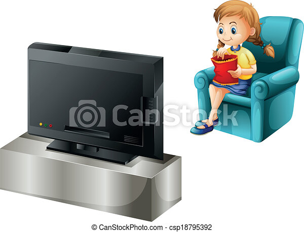 televisi n ni o mirar mirando tele ilustraci n plano de fondo ni o blanco. Black Bedroom Furniture Sets. Home Design Ideas