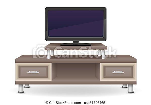 Televisi n tabla vector ilustraci n muebles for Mueble animado