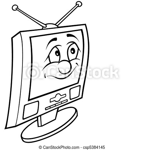 tv clipart black and white. television - csp5384145 tv clipart black and white