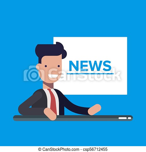 Television News Announcer On Background Tv Breaking Flat Vector Illustration In Cartoon Style