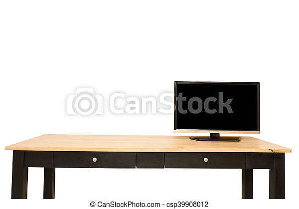 Television put on wood table isolated white - csp39908012