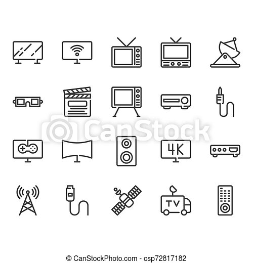 Television related icon set. Vector illustration - csp72817182
