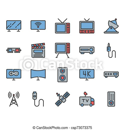 Television related icon set. Vector illustration - csp73073375