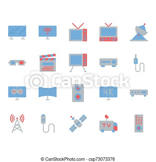Television related icon set. Vector illustration - csp73073376