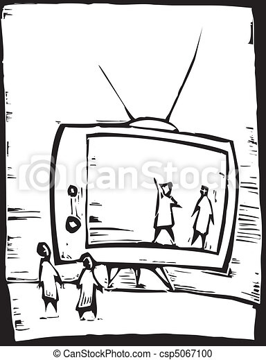 Television Set People Watch The Television Set As If It Was A Stage