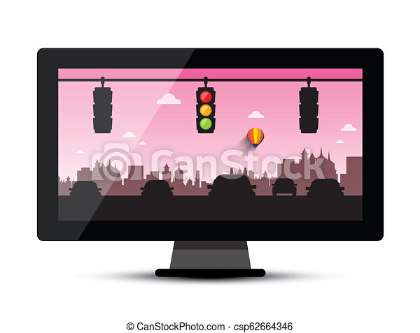 Television - TV with Cars and Traffic Lights in Evening City - csp62664346