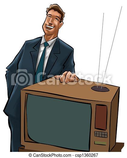 telewizja, sprzedaje, człowiek - csp1360267