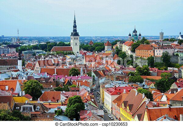 telhados, antigas, tallinn, estónia, vermelho - csp10230653
