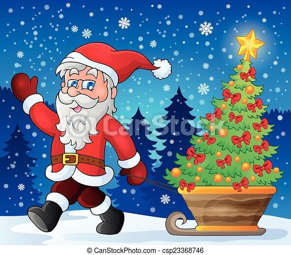 Santa Claus camina el tema 2 - csp23368746