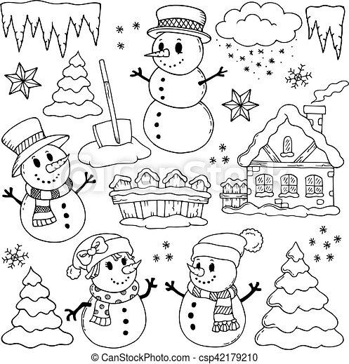 Dibujos temáticos de invierno 2 - csp42179210