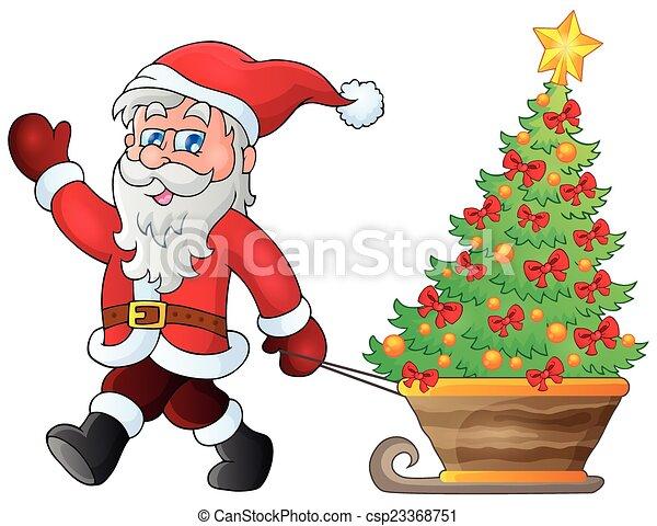 Santa Claus camina por el tema 5 - csp23368751