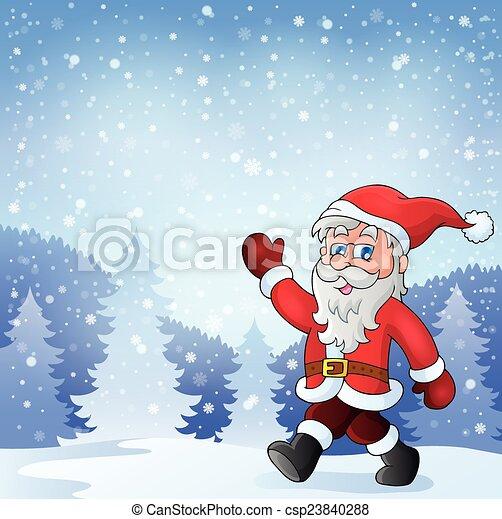 Santa Claus camina el tema 7 - csp23840288