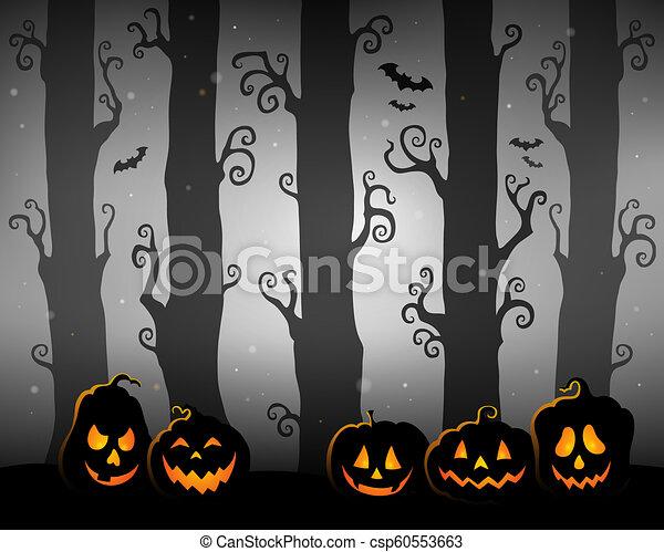 tema, dia das bruxas, floresta, imagem, 3 - csp60553663