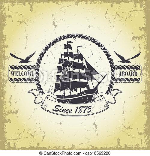 Un sello con un tema náutico - csp18563220