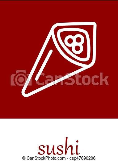 temaki sushi icon on red square - csp47690206