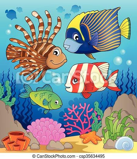 temat, wizerunek, fish, rafa, koral - csp35634495