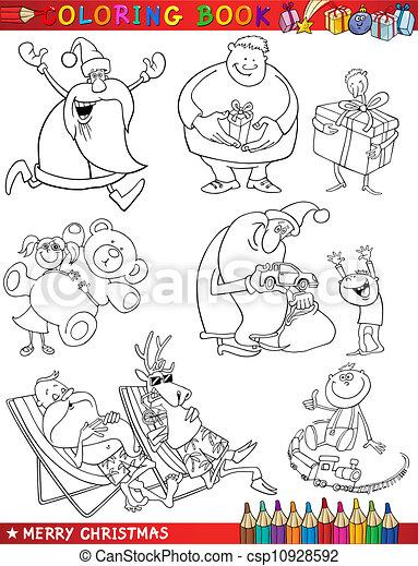 temi, coloritura, cartone animato, natale - csp10928592