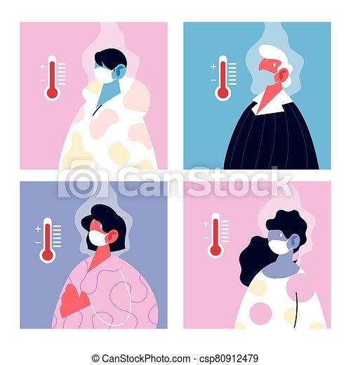 température, élevé, monde médical, souffrir, masque, gens - csp80912479