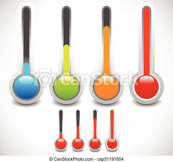 température, froid, chaud, vecteur, thermomètre, weather., set. - csp31191654