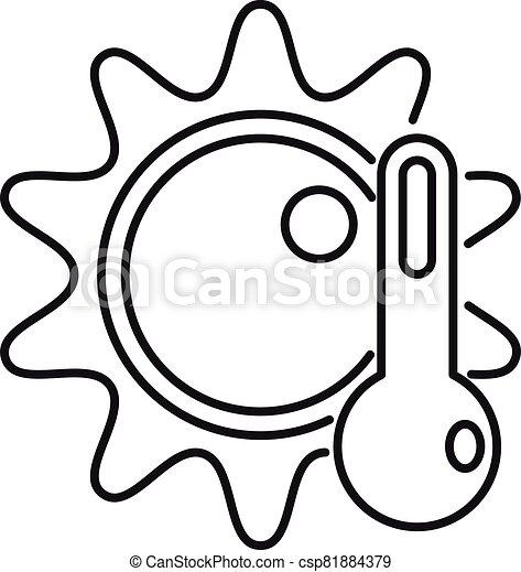 température, style, icône, soleil, élevé, contour - csp81884379