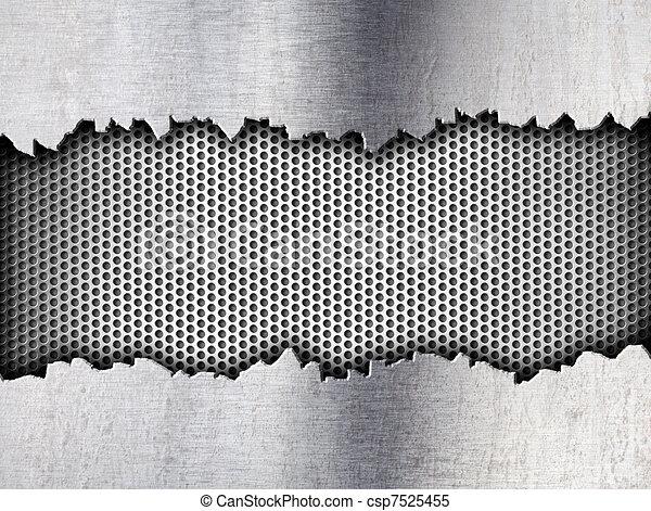 tempalte, grunge, metallo, fondo, crepa - csp7525455