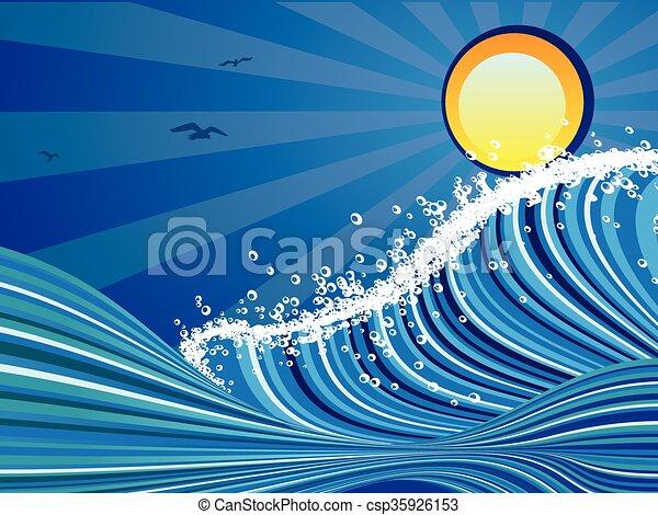 Tempestoso cartone animato mare blu tempestoso grande for Clipart mare