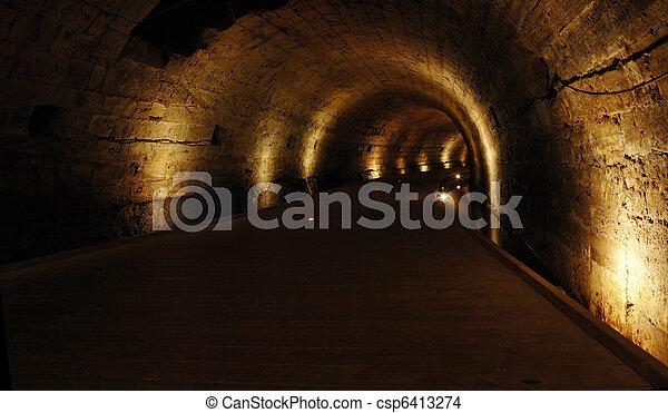 Templar tunnel at Acre -famous landmark,Israel - csp6413274