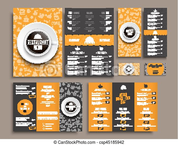 Template a4 menu folding brochures and flyers narrow for a templates business cards a4 menu folding brochures and flyers narrow for a restaurant or cafe the design of black and orange colors with drawings by reheart Image collections