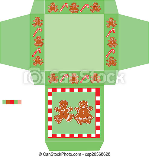 Template box cookies christmas. Is a eps 10 illustrator file ...