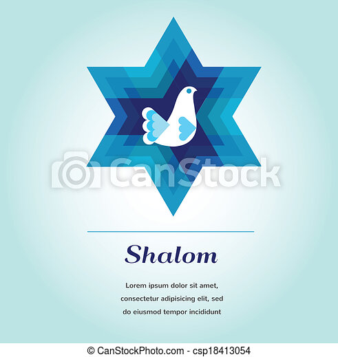 Template Card With Jewish Symbols And Peace Dove Clipart Vector