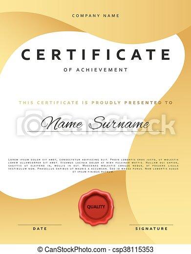 template certificate design in gold color award certificate in flat