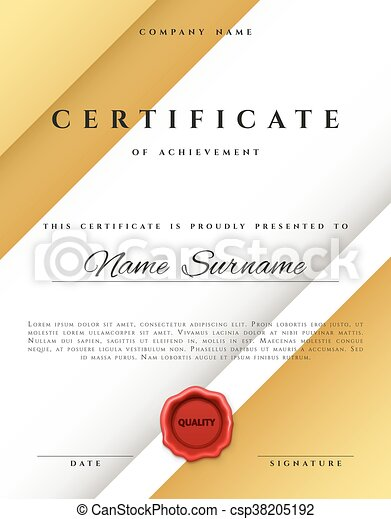 template certificate design in gold color csp38205192