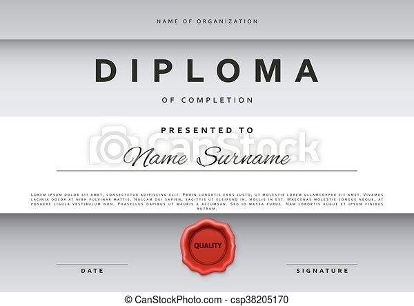 template certificate design in silver color csp38205170