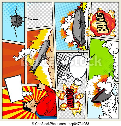 Template comic book page with warships. Pop art ships that explode. Military action. Comic book page divided by lines with speech bubbles superhero and sounds effect. Retro background mock-up - csp84734958