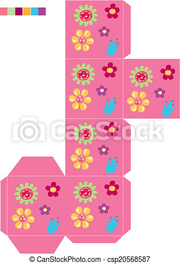 Template cookie box flower. Is a eps 10 illustrator file vector ...