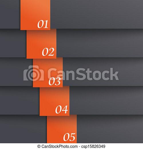Template Design 5 Options Black Orange PiAd - csp15826349