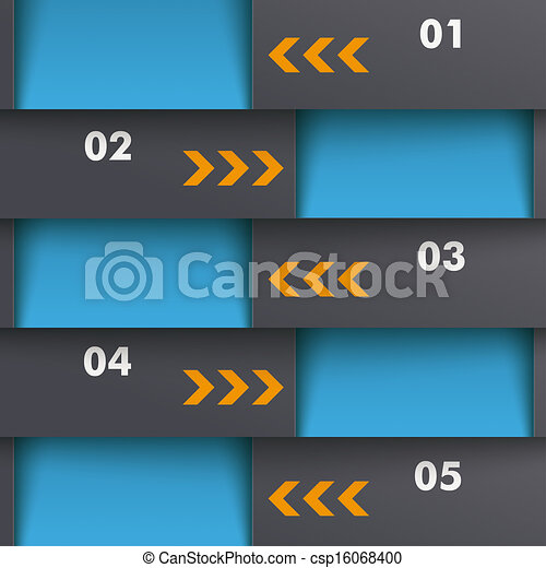 Template Design 5 Options Depth Blue Orange PiAd - csp16068400